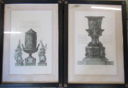 2 large framed architectural etchings by Giacomo Byres and Giovanni Corbet Cavaliere Inglese 71 cm x