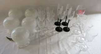 Set of 5 glass light shades, 6 cut glass wine glasses & other various glassware