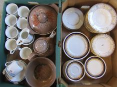 2 boxes of assorted part dinner services inc Royal Doulton Juno, Royal Doulton Fantenay, Denby and