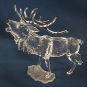 Boxed Swarovski 'Rare Encounters - stag' crystal figure with silvered metal antlers H 14 cm L 15