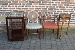 Corner table, serving trolley & 2 dining chairs