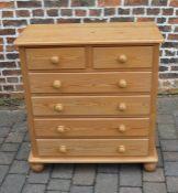 Pine chest of drawers H 98 cm, W 90 cm, D 44 cm