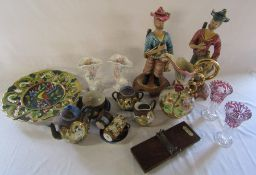 Various ceramics and glassware inc Cornucopia vases, Capodimonte style figurines, pair of glass