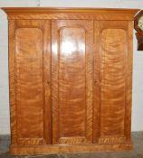 Victorian satinwood wardrobe Ht 209cm W 190cm D 65cm