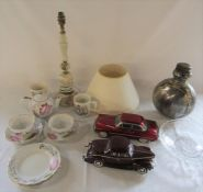 Various ceramics, glassware, table lamp and 2 model cars