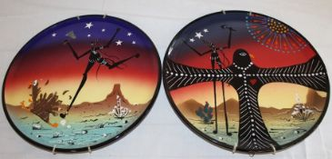 """2 StarKeeper Pottery (San Angelo Texas) hand painted plates (30cm / 12 inches) """"Thanksgiving"""" & """""""