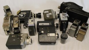Quantity of cine cameras / projectors including 2 Kodak Cine Model B, Bell & Howell Autoload,