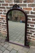 Large over mantle mahogany mirror 112 cm x 80 cm (top broken and needs reattaching)