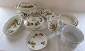 Selection of Royal Worcester 'Evesham' table ware inc large tureen together with assorted white