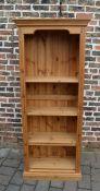 Pine bookcase H 183 cm L 75.5 cm D 29 cm (depth inc top pediment 33 cm)