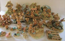 Large quantity of Pendelfin figures, stands and plates, additional bases & foliage not pictured