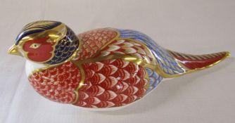 Royal Crown Derby paperweight - pheasant, gold stopper L 18 cm (no box)