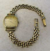 Ladies 9ct gold Omega wrist watch with 9ct gold strap (with 2 spare links) total weight 13.6 g