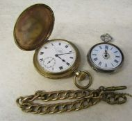Gold plated full hunter pocket watch Thos Russell & Son Liverpool, gold plated watch chain &