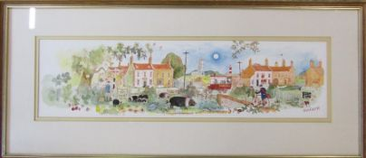 Colin Carr - framed watercolour of a Norfolk village scene signed and dated 1984 77 cm x 34 cm (size