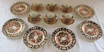 Set of 6 Royal Crown Derby imari pattern coffee cups / cans, saucers and plates (one saucer with