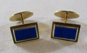 Pair of 14ct gold cuff links with blue stone (marked 585) total weight 15 g