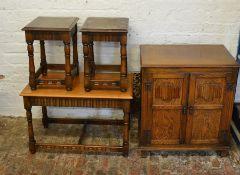 Nest of tables & linen fold cupboard