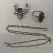 Selection of silver jewellery inc stag brooch, marcasite ring and necklace total weight 12.7 g / 0.