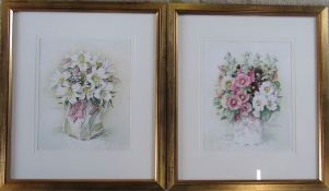 Pair of framed watercolours of flowers in a vase, signed in pencil by the artist 47 cm x 54.5 cm (