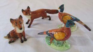 4 Beswick animal figures - 2 foxes & 2 pheasants