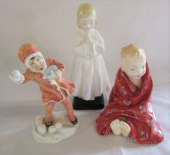 Royal Doulton 'Bedtime' HN1978, 'This little pig' HN1783 and Royal Worcester 'Snowball' figures