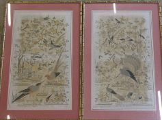 Pair of large bamboo style gilt framed Oriental silk needlepoint pictures of birds in a landscape (