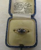 18ct gold diamond and sapphire trilogy ring size L weight 2.6 g