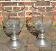 Pair of pewter & glass storm lanterns Ht 55cm