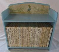 Miniature vintage Peter Rabbit's book shelf H 29 cm containing 23 Beatrix Potter books published