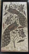Large framed Asian needlepoint and bead work picture of peacocks and flowers 59 cm x 112 cm (size