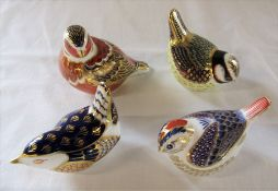 4 Royal Crown Derby paperweights - blue bird, pecking bird, orange bird and red striped bird, all