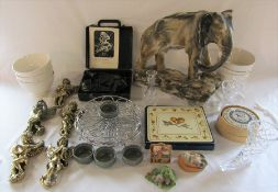 2 boxes of assorted items inc large elephant, fish/mussel bowls, cherubs, cut glass, cheese baker,