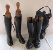 2 pairs of riding boots size 6 inc Regent & a pair of wooden boot trees