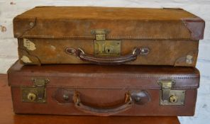 2 old leather suitcases (one suede)