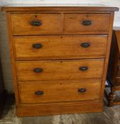 Late Victorian oak chest of drawers Ht 122cm W 107cm D 47cm