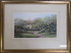 Hilary Scoffield (b.1958) large framed watercolour of a cottage 76 cm x 58 cm (size including