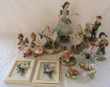 Selection of Capodimonte figures, some signed, inc woman with donkey 0/271, urchin peasant girl 0/