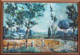 Framed oil on board of a rural scene by S Lloyd 80 cm x 54 cm (size including frame)