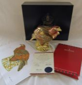 Boxed large Royal Crown Derby limited edition paperweight - Golden eagle no 174/300, gold stopper,