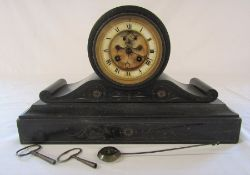 Victorian slate drumhead mantel clock stamped B.G L 39.5 cm H 24 cm