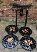 Oriental style garden bell / gong H 80 cm  & 4 oriental style stepping stones D 45 cm