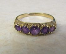 9ct gold 5 stone graduated amethyst ring size R weight 2.2 g