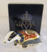 Boxed Royal Crown Derby paperweight - Moonlight badger exclusively for the Royal Crown Derby