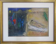 Marc Chagall (1887-1985) lithographic print of modernist figures and 2 lovers published in New