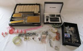 Selection of costume jewellery, watch set and dressing table set