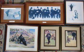 Selection of 6 framed Lawson Wood prints