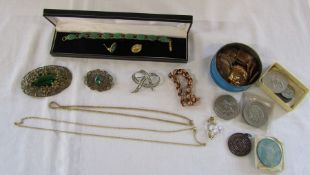 Assorted costume jewellery and coins