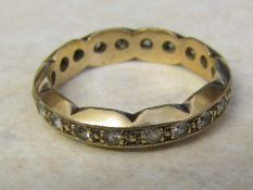 9ct gold full eternity ring with cubic zirconia stones size L weight 3 g