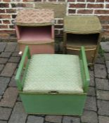 2 Lloyd Loom style bedside cabinets and a commode stool